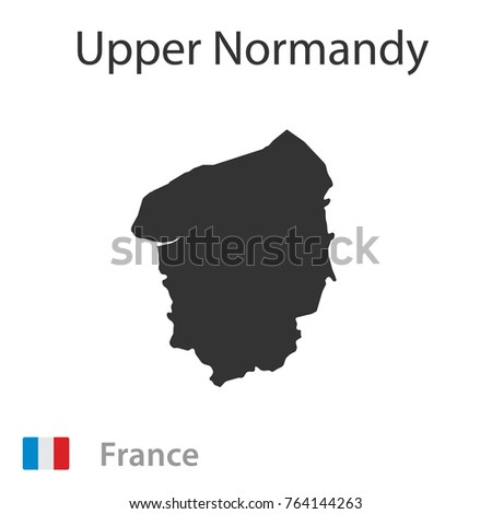 Map of Upper Normandy. Vector illustration.