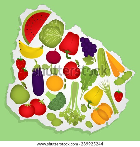 Map of Uruguay full of fruits and vegetables (tomato , apple, orange , eggplant, cabbage, cucumber , broccoli, grapes, arugula, banana, peppers , celery, beets, strawberries, watermelon, carrot). - stock vector