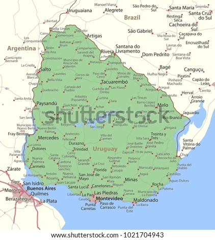 Map Uruguay Shows Country Borders Urban Stock Vector 1021704943 ...