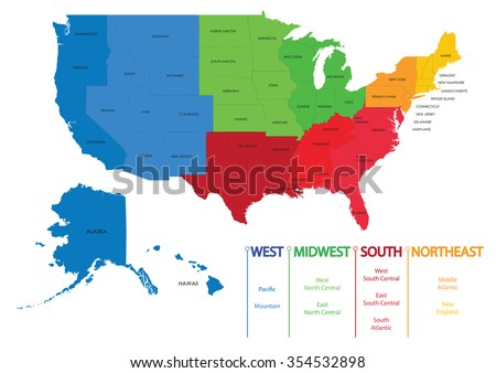 Map of US regions. Maps USA - stock vector