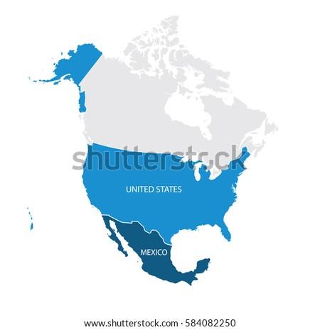 Map USA Mexico Vector Stock Vector 584082250 - Shutterstock