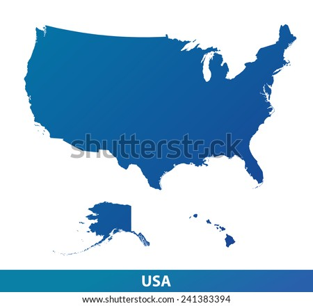 Map of USA. Silhouette isolated on a white background. - stock vector
