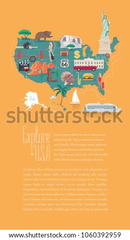 Map USA Vector Illustration Design Icons Stock Vector 2018