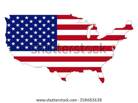 Map of USA with an official flag. North America. Illustration on white background - stock vector