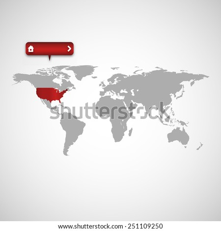 Map of USA with red pointer - stock vector