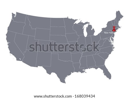 map of USA with red push pin pointing at New York City - stock vector