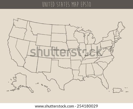 Map Usa Separable Borders Hand Drawn Stock Vector - Us map sketch