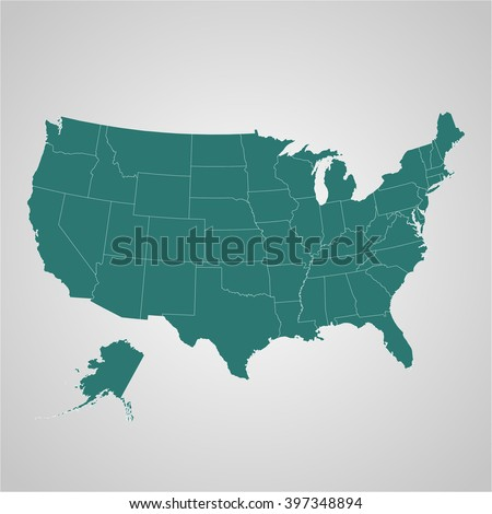 Map  of USA with separable borders in vector art - stock vector
