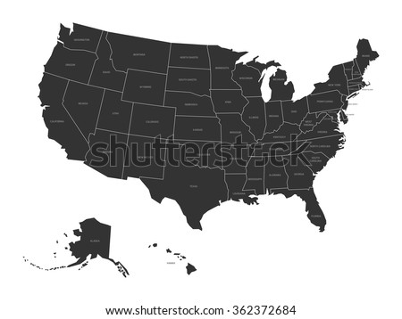 Map of USA with state names - stock vector