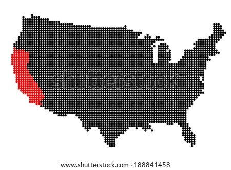 Map of USA with stylized map of California made from black and red dots (vector) - stock vector