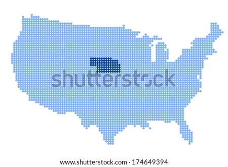 Map of USA with stylized map of Nebraska made from blue dots (vector) - stock vector