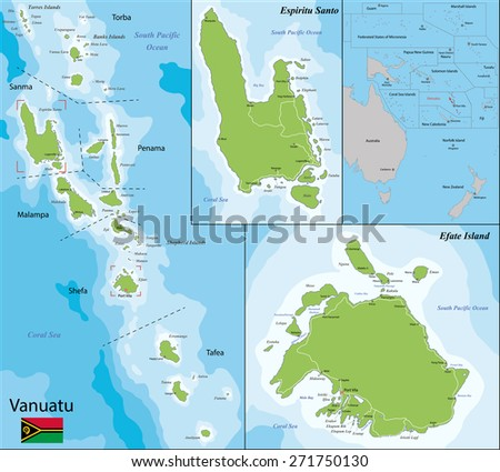 Map of Vanuatu drawn with high detail and accuracy - stock vector