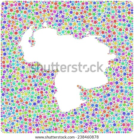 Map of Venezuela - America - into a square icon. Mosaic of harlequin circles - stock vector