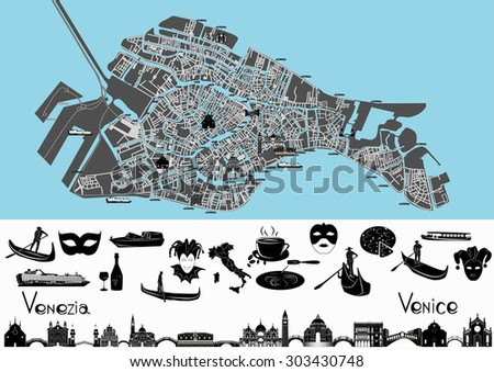 Map of Venice with illustrations of main landmark and symbols of it.
