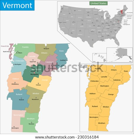 Map of Vermont state designed in illustration with the counties and the county seats - stock vector