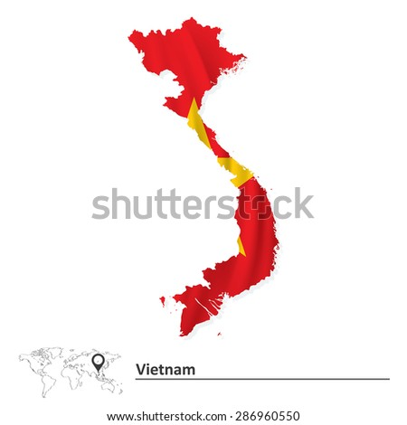 Map of Vietnam with flag - vector illustration - stock vector