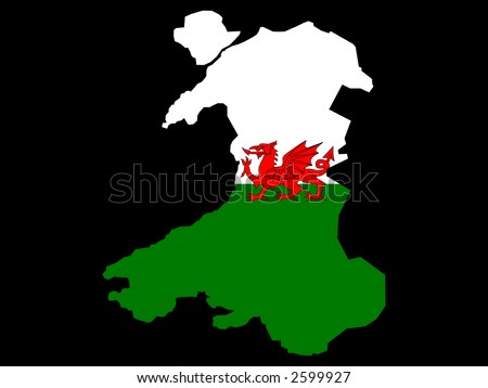 map of Wales and Welsh flag illustration