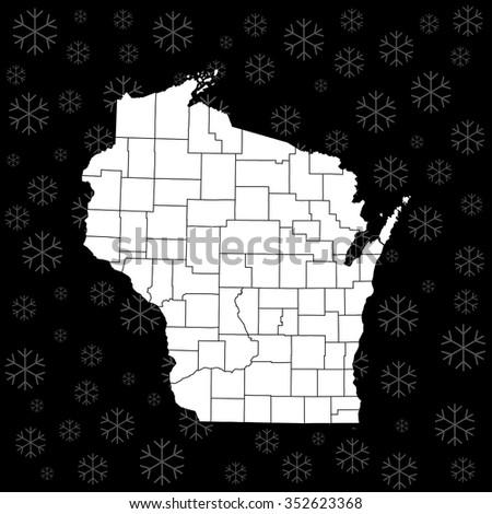 map of Wisconsin - stock vector