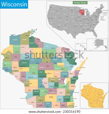 Map of Wisconsin state designed in illustration with the counties and the county seats - stock vector