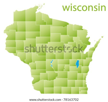 map of wisconsin state, usa