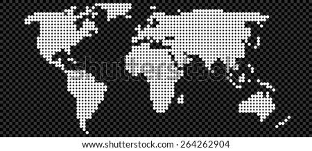 Map of world made from black, grey and white spots - stock vector