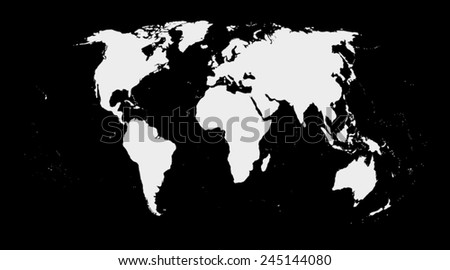 map of world on black background - stock vector