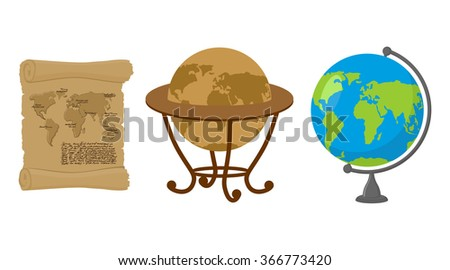 Map of world. Set of map Earth. Ancient scroll with drawing of continents and oceans. Retro Antique Globes. Geographic globe of Earth.