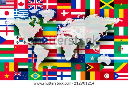 Map on a background of flags. Vector. - stock vector