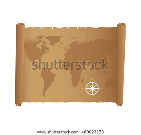 map paper antique old vector illustration design