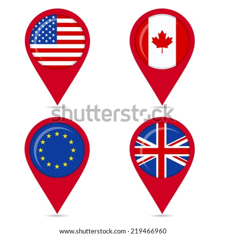 Map pin icons of national flags of Anglo Saxon countries and europe. Map pin icons of national flags: united states, canada, europe, european union, united kingdom. White background. - stock vector