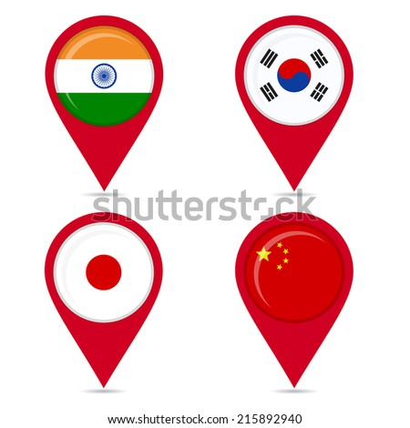 Map pin icons of national flags of asian countries. Map pin icons of national flags: india, south korea, japan, china. White background. - stock vector