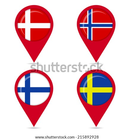 Map pin icons of national flags of Scandinavian countries. Map pin icons of national flags: Norway, Denmark, Finland, Sweden. White background. - stock vector