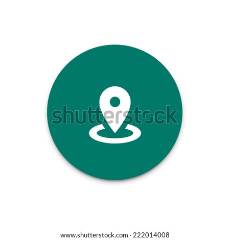 Map pin, location mark icon. Flat icon on colorful floating ui action button.  - stock vector