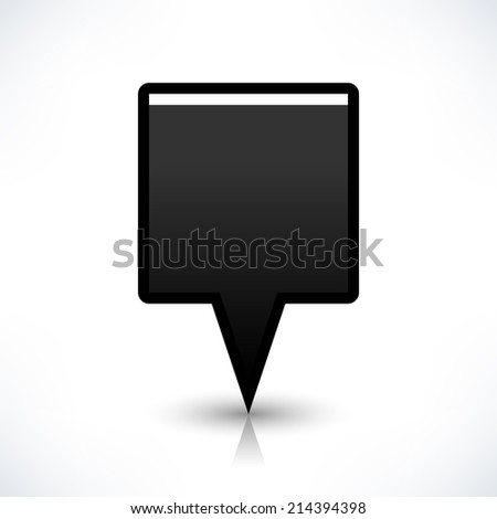 Map pin location sign rounded square icon in flat style. Simple black shapes with gray gradient shadow and reflection isolated on white background. Web design element save in vector illustration 8 eps - stock vector