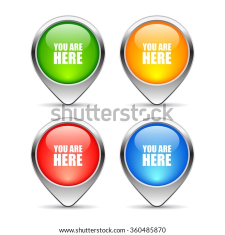 Map pin markers set, vector illustration isolated on white background - stock vector