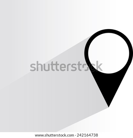 map pin on white background, flat and shadow theme - stock vector