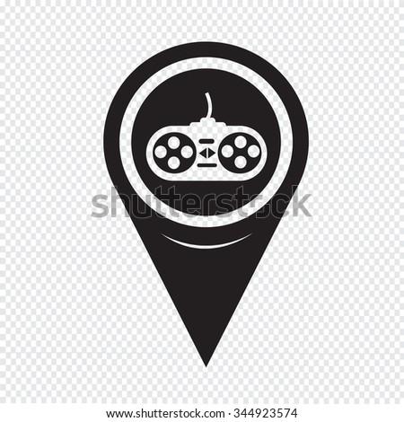 Map Pin Pointer game controller icon - stock vector