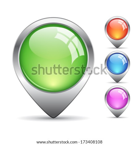 Map pin pointers - stock vector