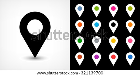 Map pin sign location icon with drop shadow in flat simple style. White, blue, cobalt, yellow, green, red, magenta, orange, pink, violet, purple, gray, brown shapes on black background. Vector 8 EPS - stock vector