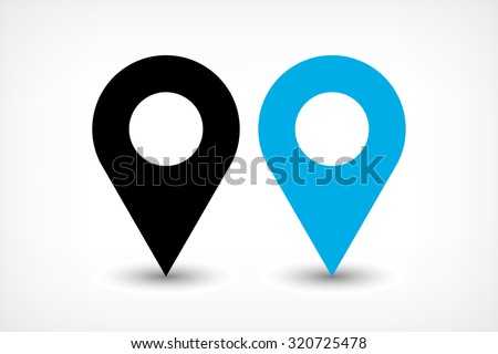 Map pin sign location icon with ellipse gray gradient shadow in flat simple style. Black and blue color rounded shapes isolated on white background. Vector illustration web design element 8 EPS - stock vector