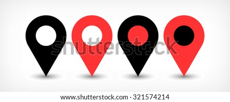 Map pin sign location icon with gray shadow in flat simple style. Four variants in two color black and red rounded shapes isolated on white background. Vector illustration web design element 8 EPS - stock vector