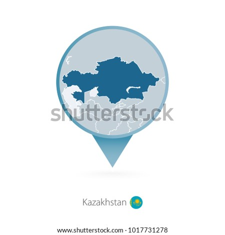 Map pin detailed map turkmenistan neighboring stock vector map pin with detailed map of kazakhstan and neighboring countries sciox Image collections