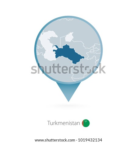 Turkmenistan stock images royalty free images vectors map pin with detailed map of turkmenistan and neighboring countries sciox Image collections