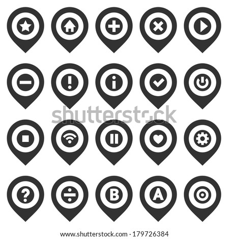 Map pins, black set, vector illustration - stock vector