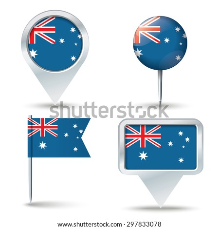 Map pins with flag of Australia - vector illustration - stock vector