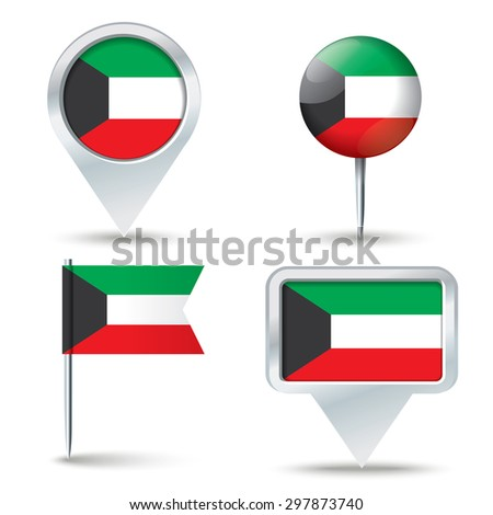 Map pins with flag of Kuwait - vector illustration - stock vector