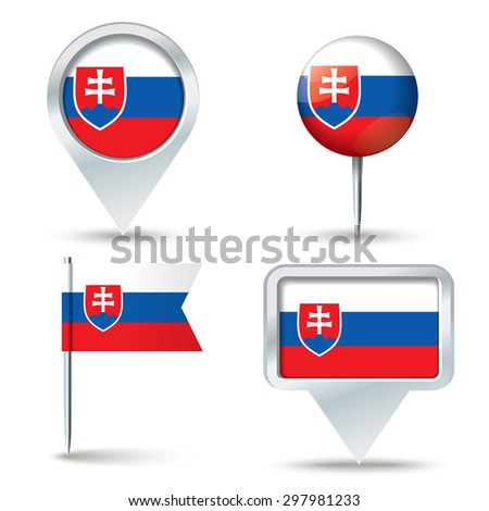 Map pins with flag of Slovakia - vector illustration