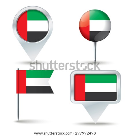 Map pins with flag of United Arab Emirates - vector illustration - stock vector