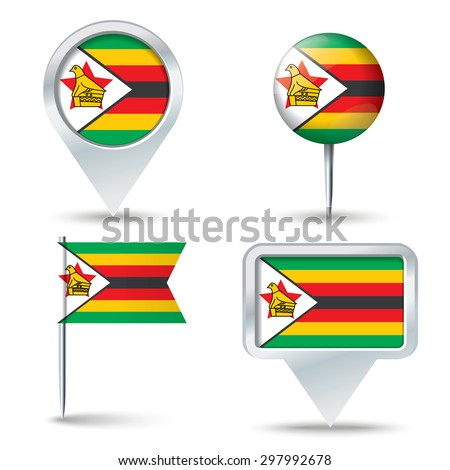 Map pins with flag of Zimbabwe - vector illustration