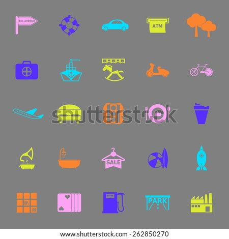 Map place color icons on gray background, stock vector